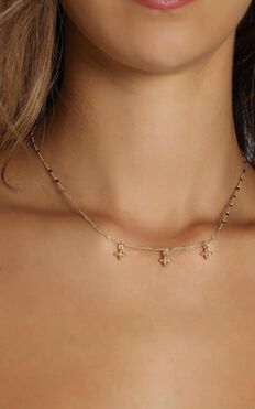 Minc Collections - Crystal Charm Choker In Gold