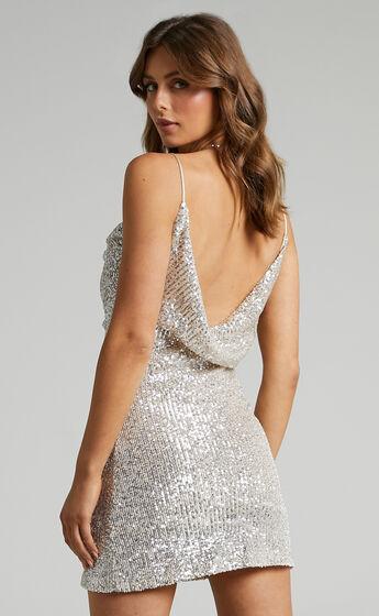 Natalee Cowl Neck Mini Dress in Silver Sequin
