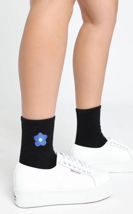 Fashion Footprint Flower Socks in Black and Dark Blue
