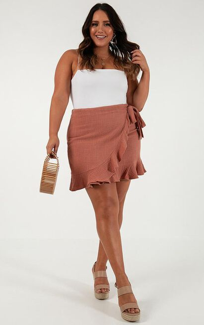 Over And Under skirt in dusty rose linen look - 4 (XXS), Blush, hi-res image number null