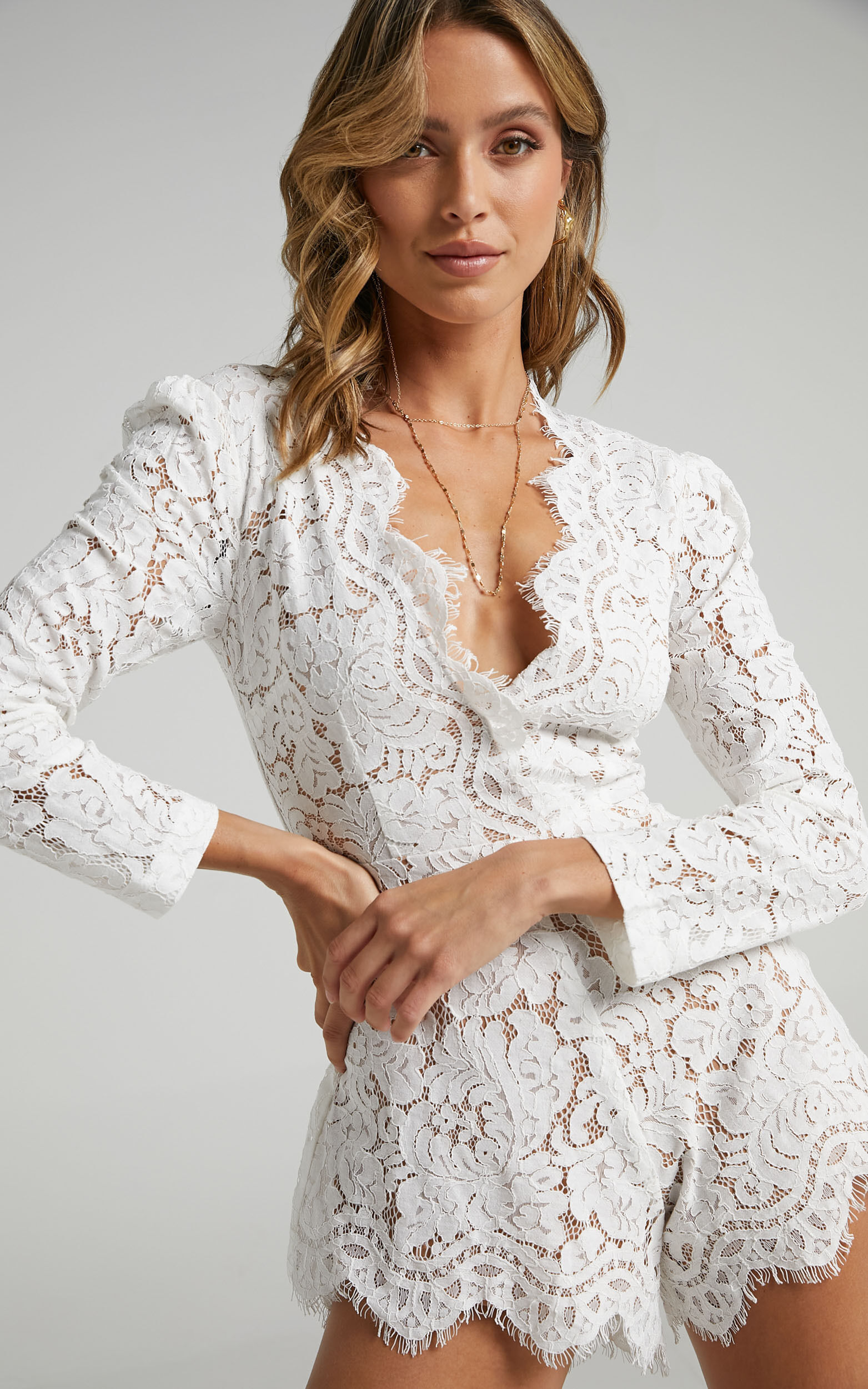 Felt Good Playsuit in White Lace - 20, WHT3, super-hi-res image number null