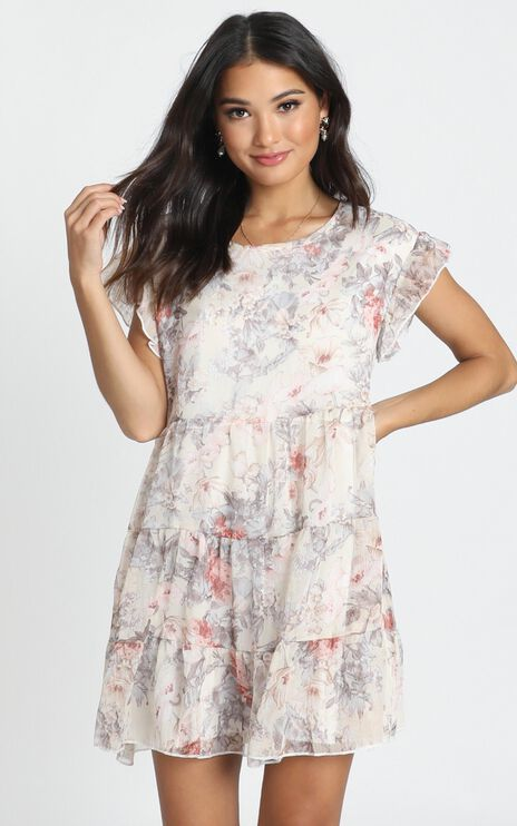 Be Yours Mini Dress In Cream Floral