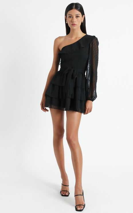 Day Dreamer One Shoulder Mini Dress in black