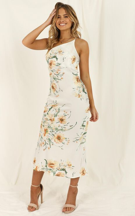 Daisy Seed Dress In White Floral