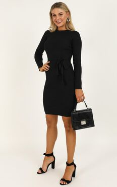 Tread Lightly Knit Dress In Black