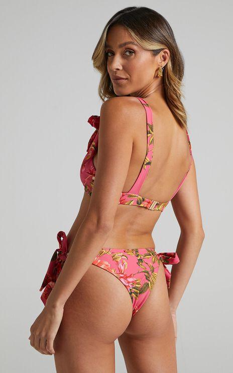 Parga Bikini Bottoms in Bright Pink Floral