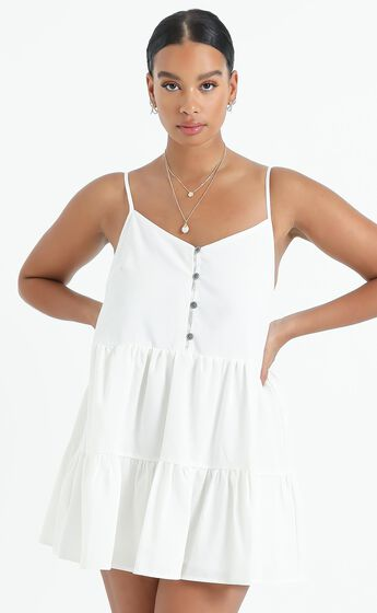 White Sands Strappy Mini Dress In White Linen Look