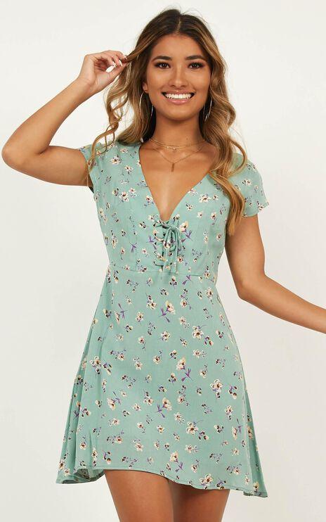 Secret Cure Dress In Mint Floral