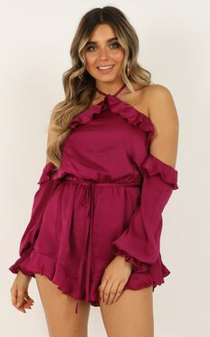 This Is Everything Playsuit In Berry Satin