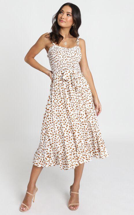 Kyra Midi Dress In Tan Spot