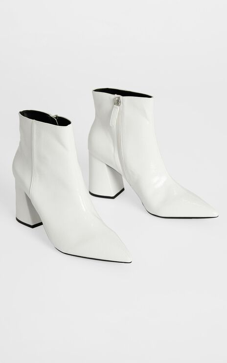 Therapy - Cleo Boots in White Crinkle Patent