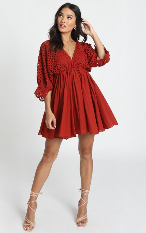 Jacinta V-Neck Embroided Mini Dress In Rust