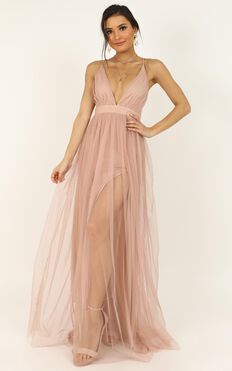 Like A Vision Dress In Blush Mesh