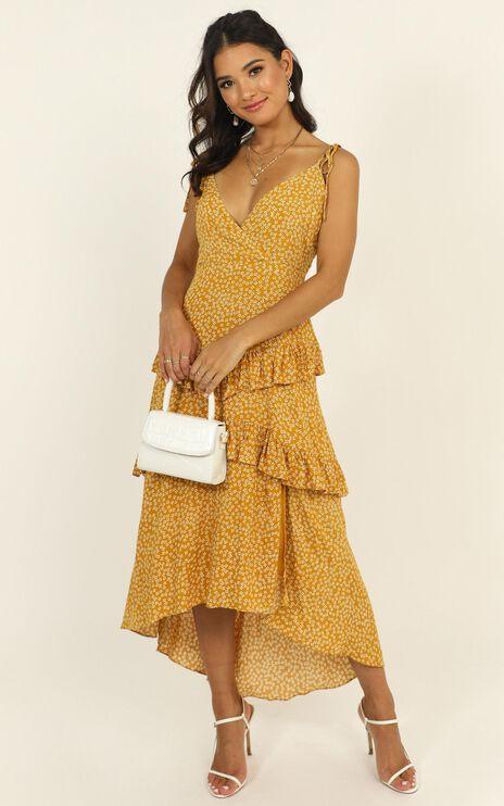 Elite Class Dress In Mustard Floral