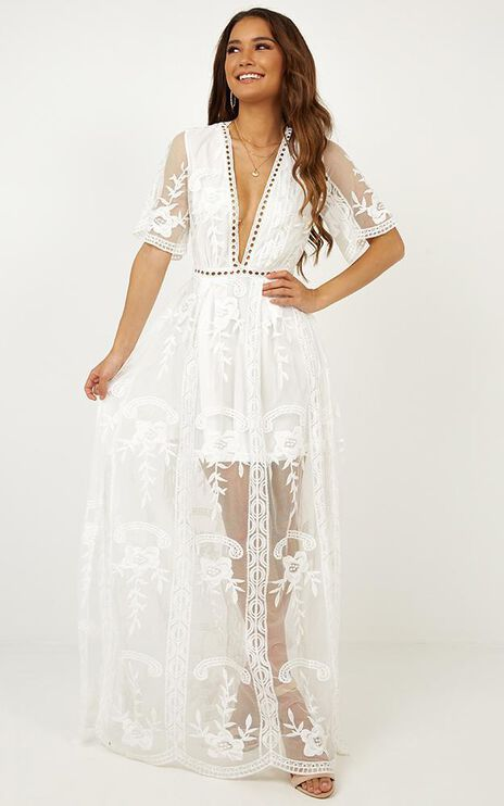 Love Spell Maxi Dress In White Lace