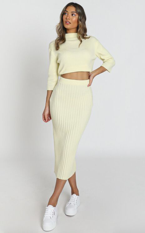 Cicely Knitted Skirt in Pastel Yellow