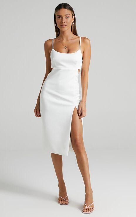 Odette Open Back Midi Dress in White