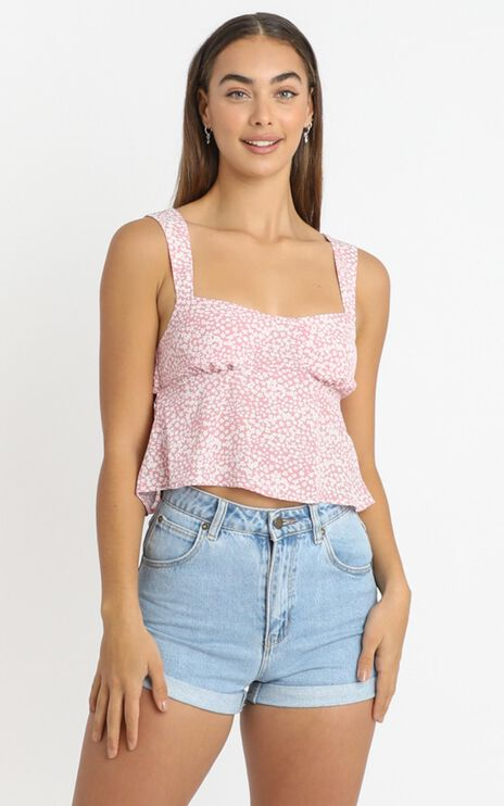 Ravello Top In Pink Ditsy Floral