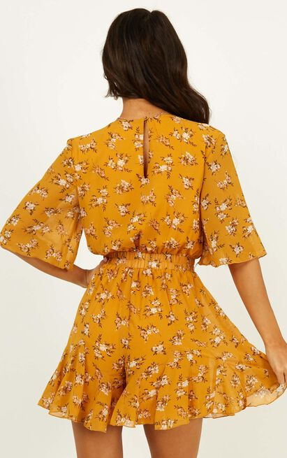 New Memories Playsuit in mustard floral - 20 (XXXXL), Mustard, hi-res image number null