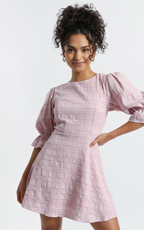 Addie Dress in Blush Check
