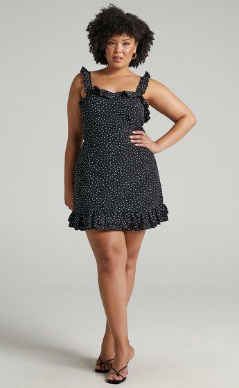 Imagination Galore Ruffle Detail Mini Dress in Black Spot