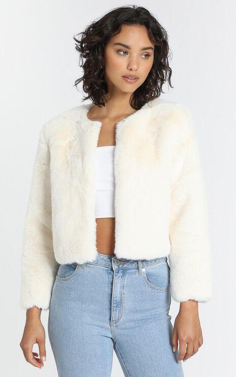 Genevieve Faux Fur Jacket in Almond