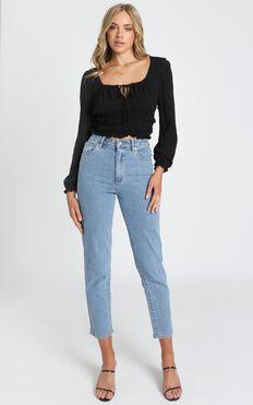 Eugenie Long Sleeve Top in Black
