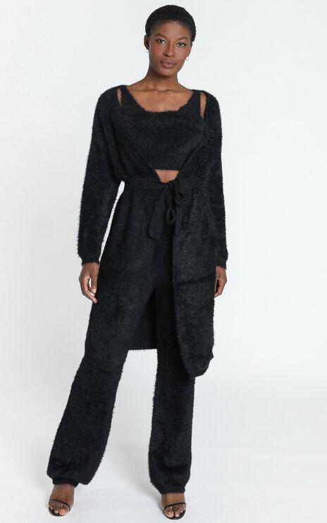 Athena Fluffy Knit Cardigan in Black
