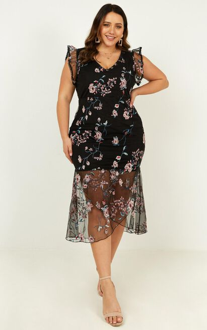 Remember The Days Dress In Black Embroidery - 20 (XXXXL), Black, hi-res image number null