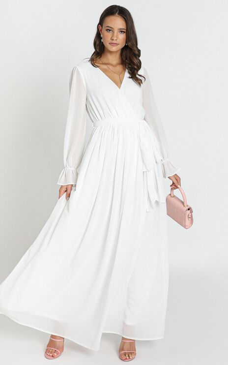 In Love Long Sleeve Maxi Dress In White