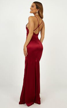 Crazy About Me Dress In Wine Satin