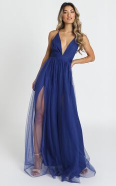Celebrate Tonight Maxi Dress In Cobalt Blue
