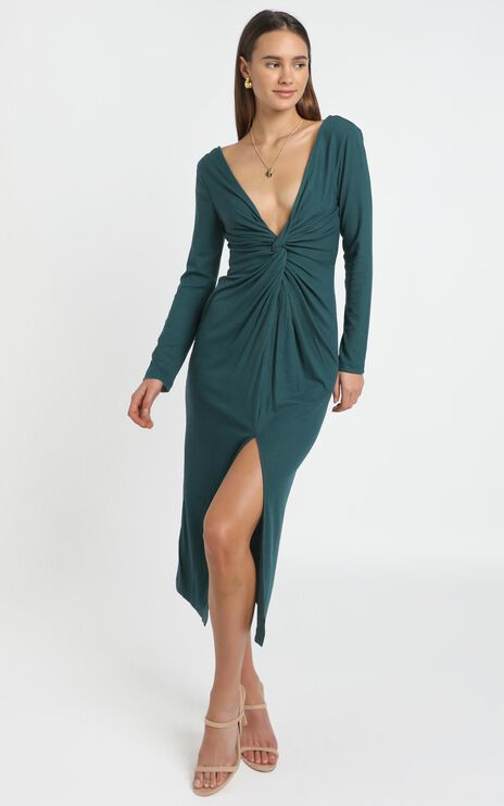 Prime Dress in emerald rib