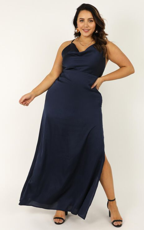 Style And Substance Maxi Dress in navy satin