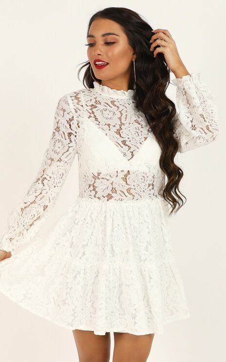 Listen Before I Go dress in White Lace