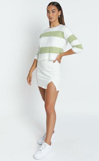 Dalziel Knit Jumper in Sage & White Stripe