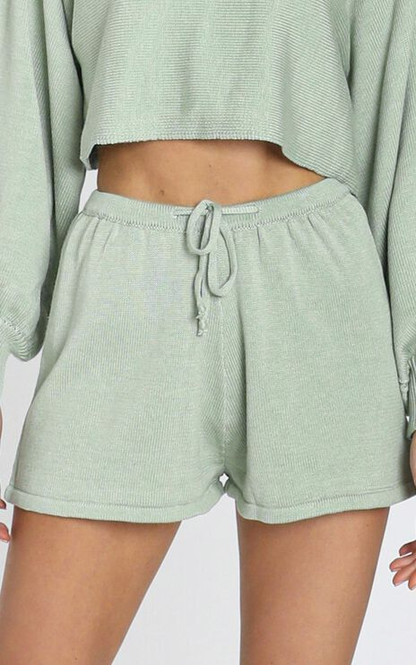 Hartley Knitted Shorts in Sage