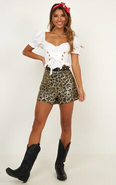 Made In Miami Shorts In Leopard Sequin