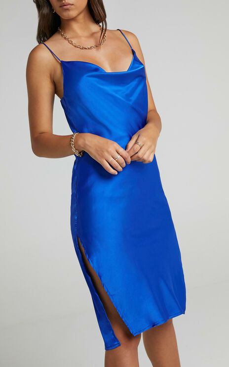 Levelle Dress in Cobalt Satin