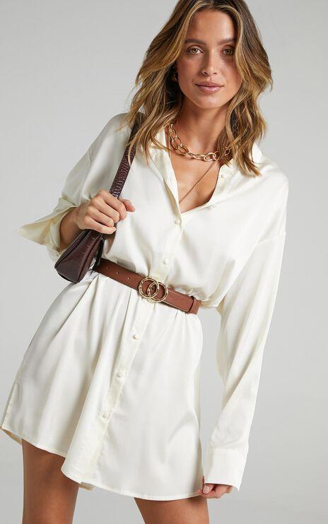 Desiree Dress in Ivory Satin