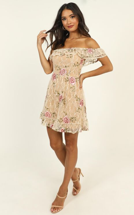 I Can Make It Dress In Beige Floral Lace