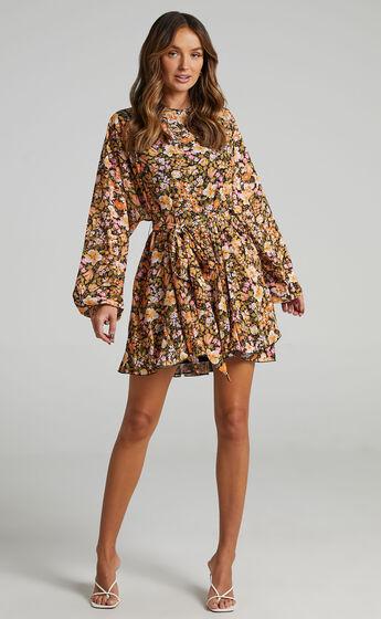 Ancora Tie Front Longsleeve Mini Dress in Black Floral