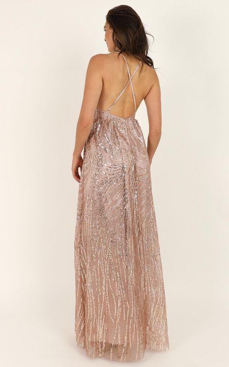 My Lover Maxi Dress In Rose Gold Glitter