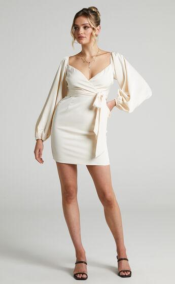 Beck Mini Longsleeve Off The Shoulder Dress in Cream