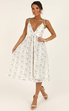 Lace Get It On Dress In White Blue Lace
