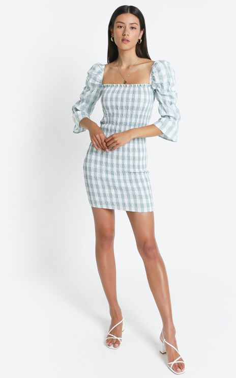 Peters Dress in Sage Check