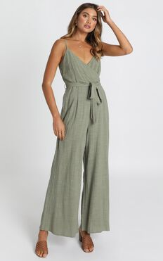Farah Jumpsuit In Khaki Linen Look