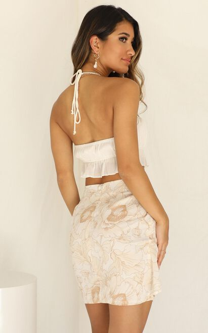 Just Walk Away skirt in mocha floral - 6 (XS), Mocha, hi-res image number null