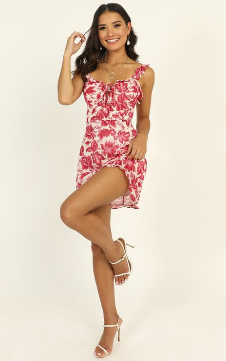 Brunch Babe Ruffle Mini Dress In Pink Floral