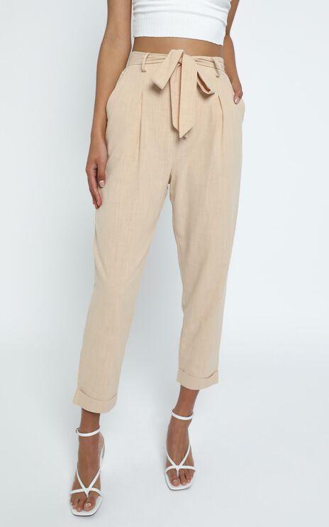 Clover Pants in Beige Linen Look